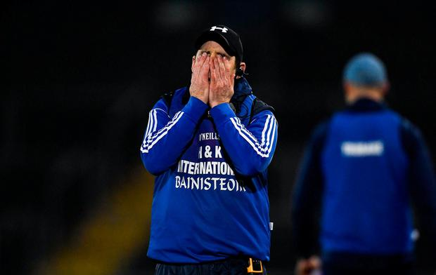 Ballyboden manager Anthony Rainbow shows his frustration late on. Photo: Piaras Ó Mídheach/Sportsfile