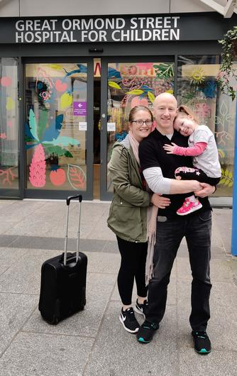 Aoife pictured with her mum and dad Michelle and Patrick leaving Great Ormond Street Hospital after her heart transplant