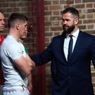 Ireland head coach Andy Farrell with his son and England captain Owen Farrell
