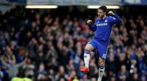 Eden Hazard celebrates after scoring the first goal for Chelsea from the penalty spot