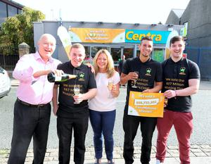 Pictured at the celebrations were from left to right: Dave Whelan, owner, Centra; Dean O'Connor, shop assistant; Karen Whelan, wife of owner; Simon Collier, shop manager and Emmet Smiles. Pic: Mac Innes Photography