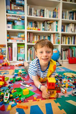 Oisin O'Brien (6) playing with Lego at home in Co Wicklow