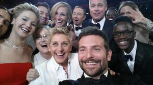 The selfie that broke Twitter.  Ellen DeGeneres's pic with Jennifer Lawrence, Bradley Cooper and Meryl Streep got retweeted 1.7 million times in the first hour.