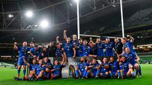 The Leinster team celebrate with the PRO14 trophy following their victory over Ulster at an empty Aviva Stadium. Photo by Ramsey Cardy/Sportsfile