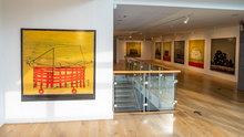 The Sinéad Ní Mhaonaigh exhibition, with Macalla No. 11 on the front left, in the gallery at Mermaid Arts Centre
