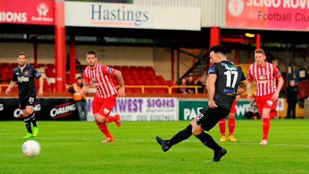 Dundalk's Richard Towell scores his side's winning goal from the penalty spot