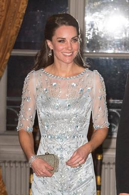 Catherine, Duchess of Cambridge attends a dinner hosted by Her Majesty's Ambassador to France, Edward Llewellyn, at the British Embassy in Paris, as part of their official visit to the French capital on March 17, 2017 in London, England. (Photo by Dominic Lipinski -  Pool / Getty Images)