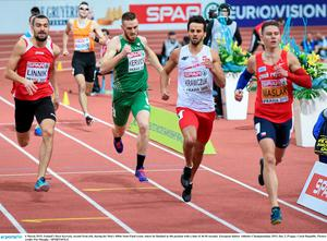 6 March 2015; Ireland's Dara Kervick, second from left, during his Men's 400m Semi-Final event, where he finished in 4th position with a time of 46.96 seconds. European Indoor Athletics Championships 2015, Day 2, Prague, Czech Republic. Picture credit: Pat Murphy / SPORTSFILE