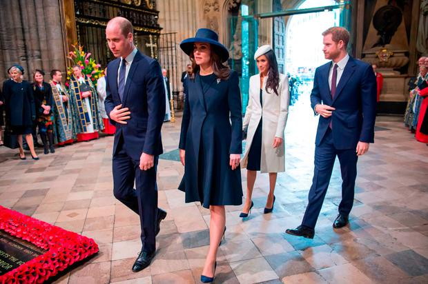 (L-R) Britain's Prince William, Duke of Cambridge, Britain's Catherine, Duchess of Cambridge, US actress Meghan Markle and her fiancee Britain's Prince Harry attend a Commonwealth Day Service at Westminster Abbey in central London, on March 12, 2018 GROVER/AFP/Getty Images