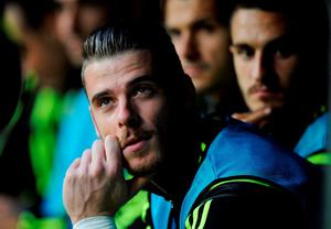 Spain's goalkeeper David De Gea sits on the bench before the start of their Euro 2016 qualification soccer match against Slovakia at Carlos Tartiere stadium in Oviedo at the weekend