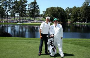 Padraig Harrington of Ireland and his brother Fergal Harrington  pose for a photo during the Par 3 Contest. Photo: Getty Images