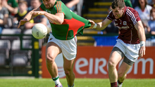 Mayo's Aidan O'Shea is fouled by Galway corner back Johhny Duane in the Connacht semi-final at Pearse Stadium