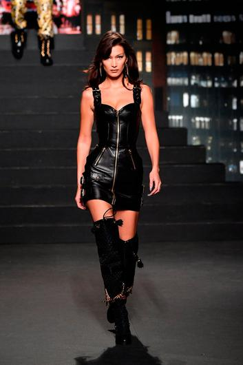 Bella Hadid walks the runway during the Moschino x H&M - Runway at Pier 36 on October 24, 2018 in New York City.  (Photo by Mike Coppola/Getty Images)
