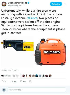 The tweet which was sent out by Dublin Fire Brigade. Photo: Paul Sheridan
