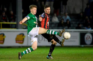 Dean Kelly, Bohemians, in action against Daniel O'Reilly, Bray Wanderers. SSE Airtricity League Premier Division, Bray Wanderers v Bohemians, Carlisle Grounds, Bray, Co. Wicklow (Cody Glenn / SPORTSFILE)