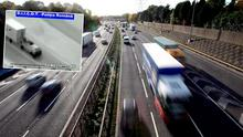 Raid: CCTV footage of a similar raid in Romania (left) shows how raiders climb on to moving trucks from cars behind