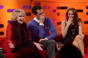 Joan Rivers, Johnny Knoxville and Catherine Tate during a recording of The Graham Norton Show in 2010