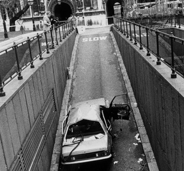 Fearsome symmetry: Airey Neave's bombed-out car in the Palace of Westminster in 1979