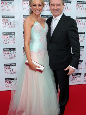 Jenny McCarthy and Martin King on the Red Carpet at The Peter Mark VIP Style Awards 2015 at The Marker Hotel,Dublin. Pictures Brian McEvoy