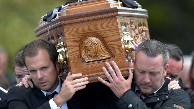 Family and Friend during the funeral of 17 year old Ronan Hughes at St Patrick's Church  in Clonoe Co Tyrone ,  The  schoolboy understood to have taken his own life after being tricked into posting images online. Pic Colm Lenaghan/Pacemaker
