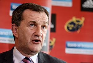 Munster CEO Garrett Fitzgerald speaking to the media during a press conference