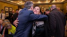 High hopes: Mary Lou McDonald and David Cullinane at the meeting