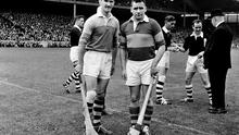 5 September 1965; Tipperary captain Jimmy Doyle, right, and Wexford captain Tom Neville before the game. All Ireland Senior Hurling Championship Final, Tipperary v Wexford, Croke Park, Dublin. Picture credit; Connolly Collection / SPORTSFILE