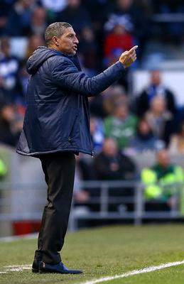 Brighton & Hove Albion manager Chris Hughton gestures on the touchline during the FA Cup Fourth Round match at the AMEX Stadium, Brighton. PRESS ASSOCIATION Photo. Picture date: Sunday January 25, 2015. See PA story SOCCER Brighton. Photo credit should read: Gareth Fuller/PA Wire. RESTRICTIONS: Editorial use only. Maximum 45 images during a match. No video emulation or promotion as 'live'. No use in games, competitions, merchandise, betting or single club/player services. No use with unofficial audio, video, data, fixtures or club/league logos.