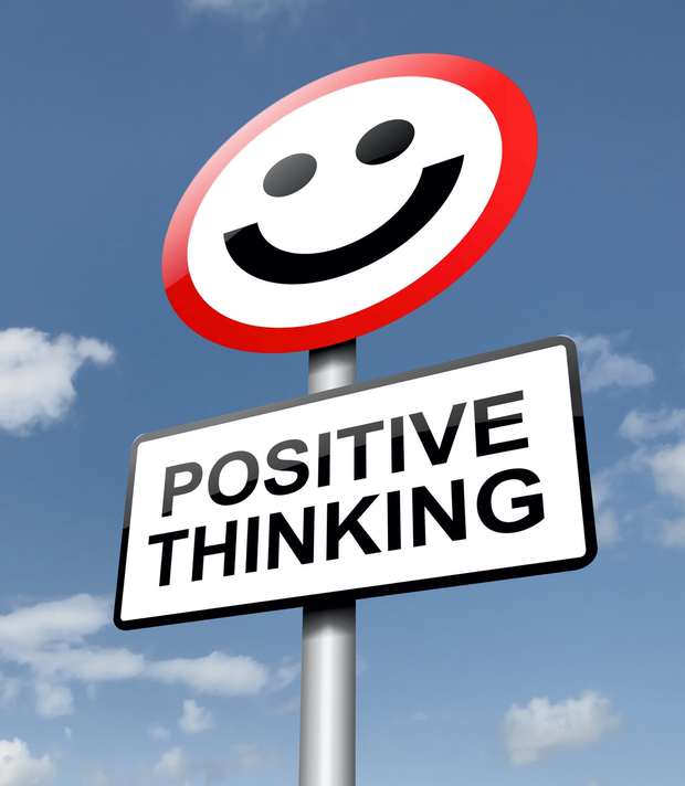 Illustration depicting a road traffic sign with a positive thinking concept. Blue sky background.