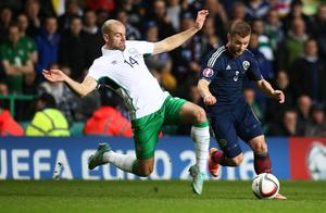 Republic of Ireland's Darron Gibson and Scotland's Shaun Maloney during the UEFA Euro 2016 qualifier at Celtic Park