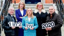 Pictured at the launch were cancer survivor Cormac Clancy, Dr. Antoinette Perry, UCD, Grainne O'Rourke, Irish Cancer Society, Louise McSharry, 2FM DJ and rugby legend Tony Ward. Photo: Andres Poveda
