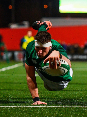 Thomas Ahern of Ireland goes over to score his side's fifth try. Photo: Harry Murphy/Sportsfile