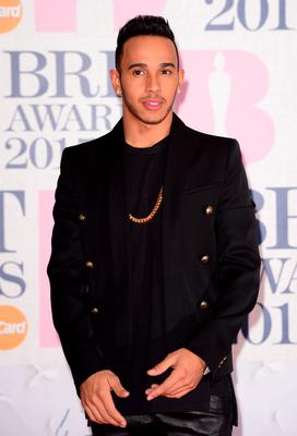 Lewis Hamilton arriving for the 2015 Brit Awards at the O2 Arena, London.