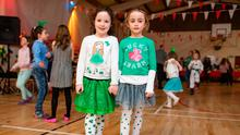 Katelyn Hynes (7), from Blackrock, and Lauren Ross (7), from Monkstown, at the Cuala céilí in Dalkey Picture: Arthur Carron