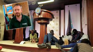 Journalists are seen on the podium following sounds of gun shots before a news conference by South Sudan President Salva Kiir, First Vice President Riek Machar and other government officials in Juba (inset: Feargal O'Connell)