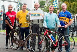 Wilsie Nolan (90), from Terryglass, wishing the Tipp team of cyclists that will set off for Dublin on Saturday morning next the very best on their trip to the capital for the big match.  Also in photo are Tipperary All-Ireland winning goal scorers against Kilkenny Dinny Ryan Coole (1971),right and Michael Cleary (1991), who will lead out the cycle.