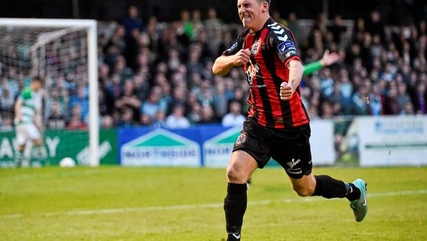 12 June 2015; Dean Kelly, Bohemians, celebrates after scoring his side's second goal of the game. SSE Airtricity League Premier Division, Bohemians v Shamrock Rovers. Dalymount Park, Dublin. Picture credit: David Maher / SPORTSFILE