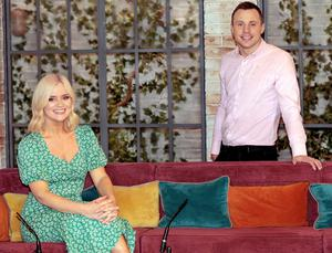 Tommy Bowe with co-presenter Karen Koster