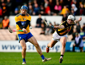 Banner blast: Shane O'Donnell shoots past Kilkenny's Conor Browne to score a goal for Clare during yesterday's League clash at UPMC Nowlan Park. Photo by Ray McManus/Sportsfile