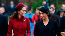 The Duchess of Cambridge and the Duchess of Sussex arriving to attend the Christmas Day morning church service at St Mary Magdalene Church in Sandringham, Norfolk. PRESS ASSOCIATION Photo. Picture date: Tuesday December 25, 2018.  Joe Giddens/PA Wire