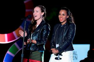 Actors Olivia Wilde (L) and Kerry Washington speak on stage at the 2015 Global Citizen Festival to end extreme poverty by 2030 in Central Park on September 26, 2015 in New York City.  (Photo by Theo Wargo/Getty Images for Global Citizen)