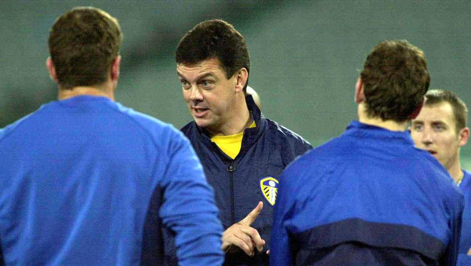 Leeds the way: Former Leeds manager David O'Leary speaks to his charges during their 2000 Champions League campagin. Photo: Getty Images