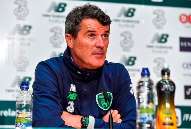 Roy Keane during Ireland's press conference yesterday in Abbotstown. Photo: David Maher/Sportsfile