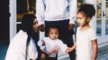 Kim Kardashian returned to social media with this picture with husband Kanye West and children North and Saint