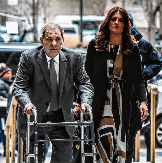 Accused: Harvey Weinstein arrives at court in New York, again using a walking frame. Photo: Stephanie Keith/Getty