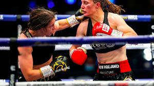 22 August 2020; Katie Taylor, left, in action against Delfine Persoon during their Undisputed Lightweight Titles fight at Brentwood in Essex, England. Photo by Mark Robinson / Matchroom Boxing via Sportsfile