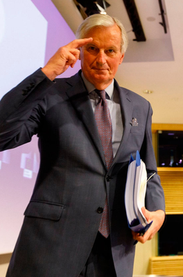The European Union's chief negotiator Michel Barnier after Brexit talks with the UK yesterday. Photo: Getty