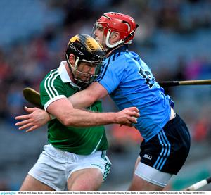 28 March 2015; James Ryan, Limerick, in action against David Treacy, Dublin. Allianz Hurling League, Division 1, Quarter-Final, Dublin v Limerick. Croke Park, Dublin. Picture credit: Ray McManus / SPORTSFILE