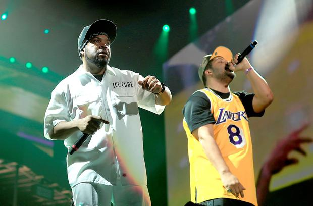 INDIO, CA - APRIL 16: Rapper Ice Cube (L) and O'Shea Jackson Jr. perform onstage during day 2 of the 2016 Coachella Valley Music & Arts Festival Weekend 1 at the Empire Polo Club on April 16, 2016 in Indio, California. (Photo by Christopher Polk/Getty Images for Coachella)