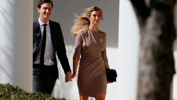 White House Senior Adviser Jared Kushner and his wife Ivanka Trump walk along the colonnade ahead of a joint press conference by Japanese Prime Minister Shinzo Abe and her father, U.S. President Donald Trump, at the White House in Washington, U.S., February 10, 2017. REUTERS/Jim Bourg